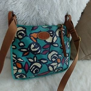 Fossil Coated Canvas Floral crossbody bag purse